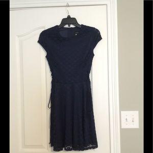Navy blue lace pattern dress
